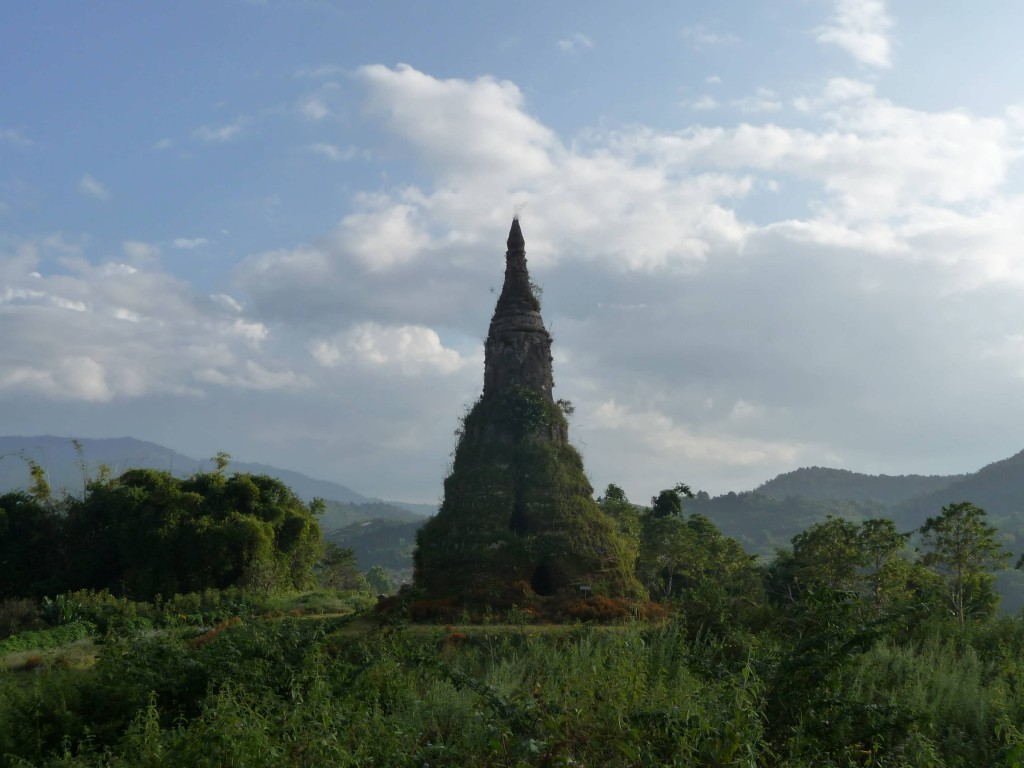 Stupa with mountain views in Phonsovan, Xieng Khouang, Northern Laos