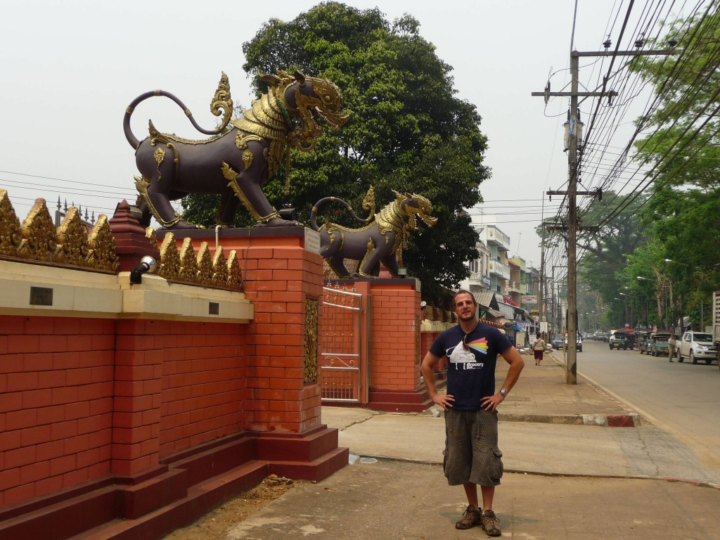 Outside a temple in Chiang Saen
