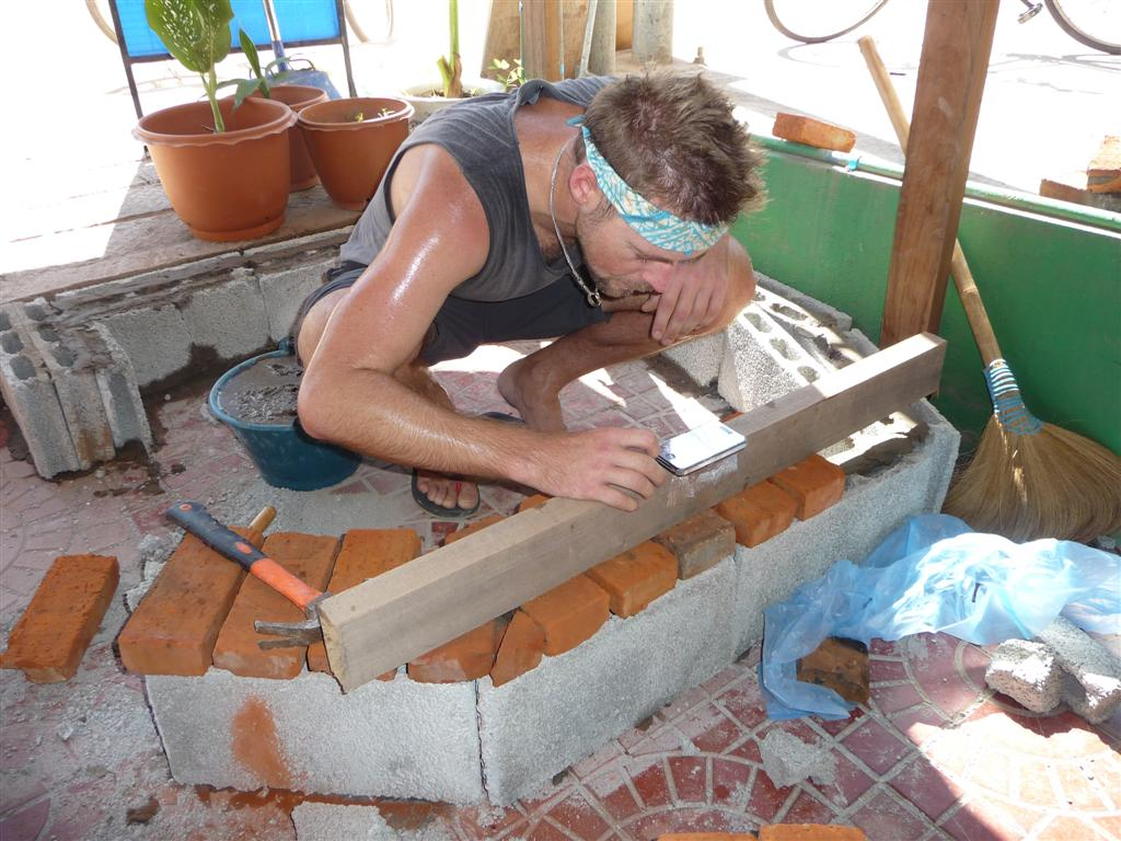 Building a pizza oven at Forest Retreat Laos