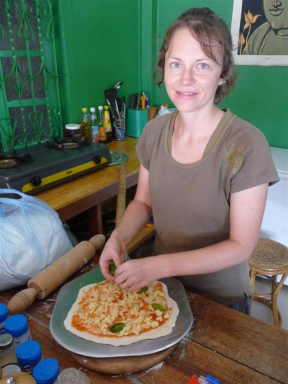 The first pizza to be made in Luang Namtha!