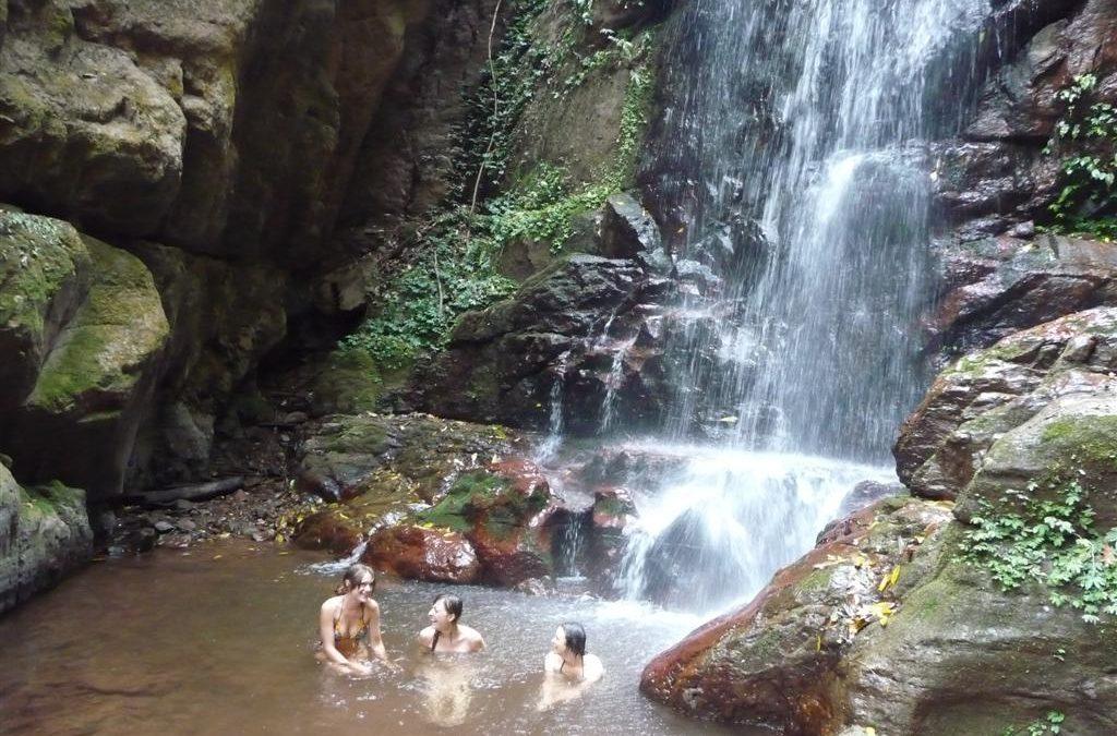 Carley, Tara and Karen swimming in Luang Namtha