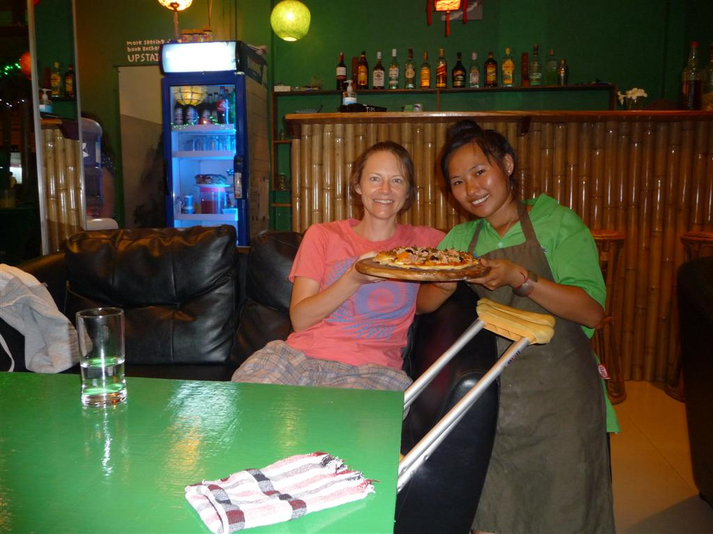 Pizza at Forest Retreat Laos Luang Namtha
