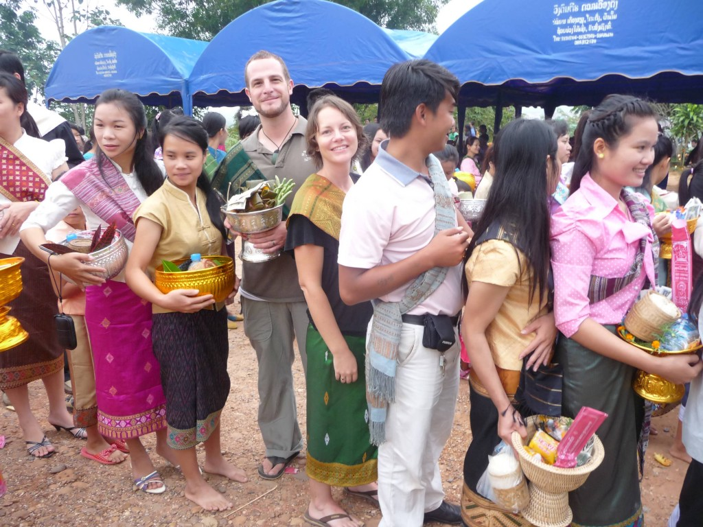 Giving alms in Luang Namtha at the end of Buddhist Lent