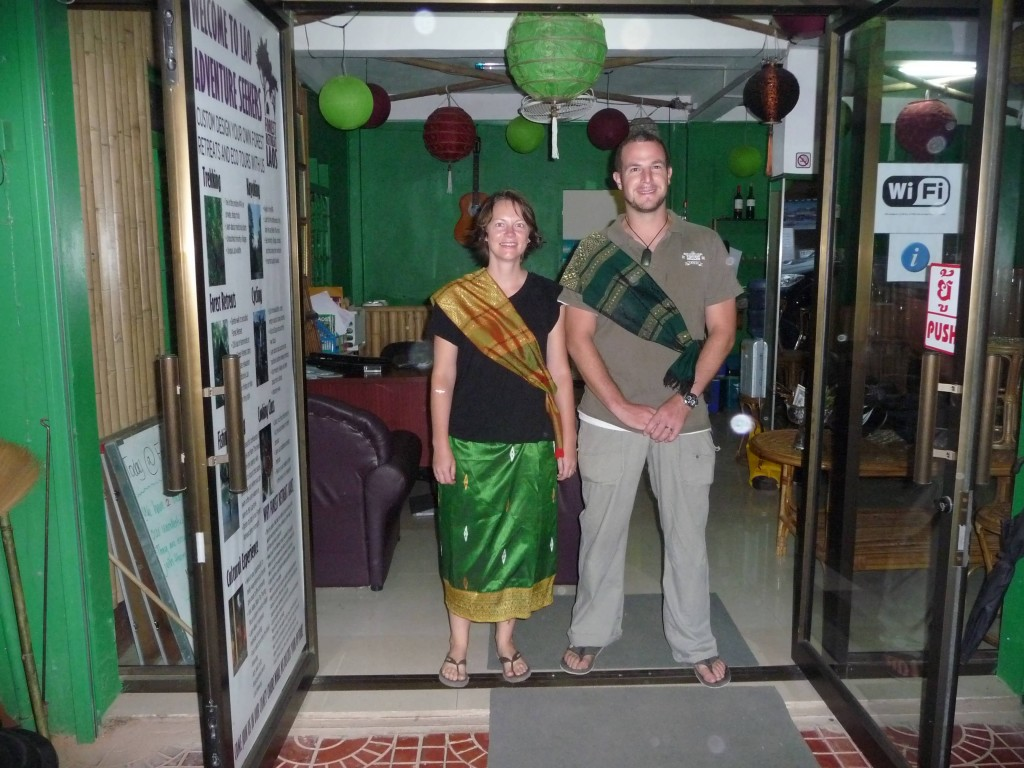 Representing Forest Retreat wearing green to give alms at the temple!