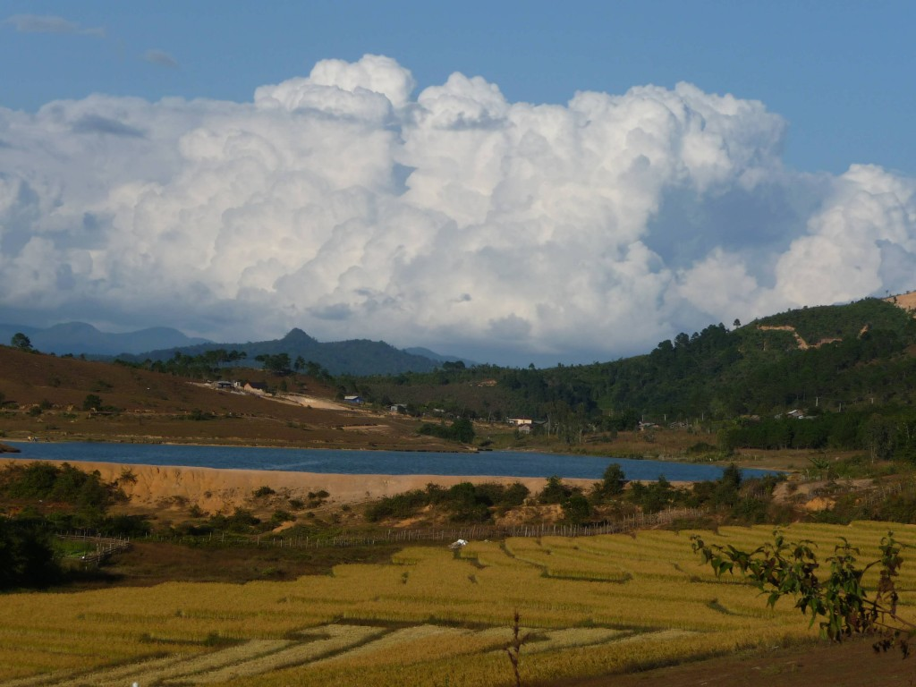 Rice fields, lake and mountians in Phonsovan, northern Laos