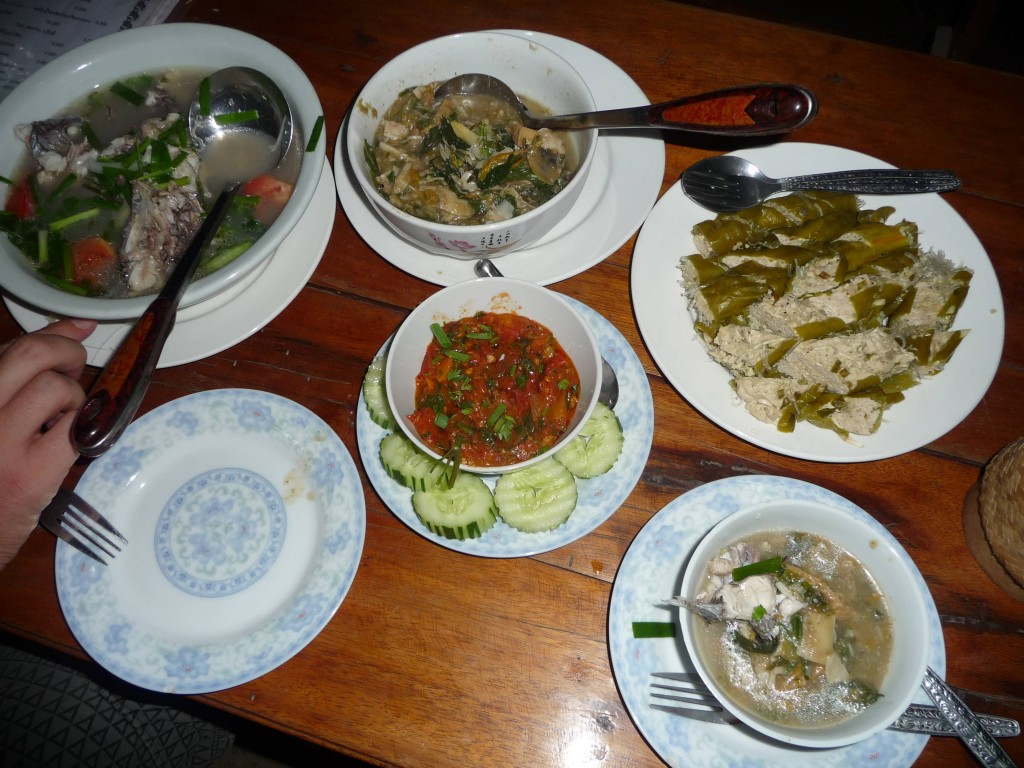 Manylin's delicious cooking at Papaya Restaurant, Luang Namtha